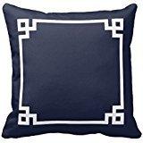 Dark Blue and White Greek Key Border Pillow Home Sofa Decorative 18X18 Inch Square Throw Pillow Case Decor Cushion Covers