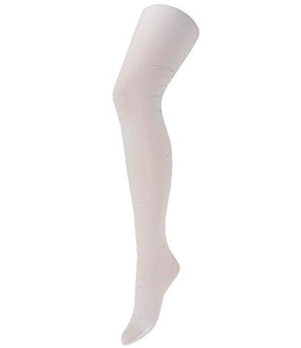Maximo Mädchenstrumpfhose Feinstrumpfhose Strumpfhose Feinware Kleinkind mit silbernen Lurex Sternen (MX-53243-207600-W16-BM0-01-122/128) in Arktikweiß, Größe 122/128 inkl. EveryKid-Fashionguide