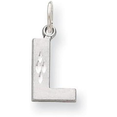 Icecarats Designer Di Gioielli In Oro 14K Bianco Satinato Solido L Fascino Iniziale Diamante Taglio