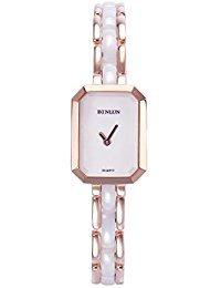 binlun Damen-Rose Gold Ton Analog Keramik Display Uhr Armreif Verschluss