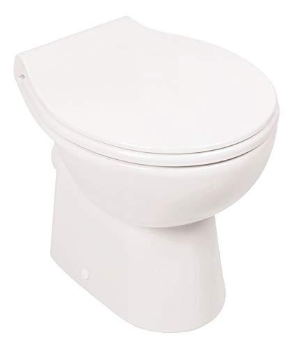 Calmwaters - Spülrandloses Stand-WC mit waagerechtem Abgang als Tiefspüler im Set mit WC-Sitz - 07AB3132