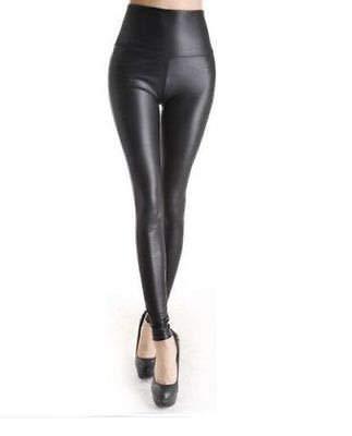 fb4b1c7f72e91 Vr7 Leggings High Waist Look Wet Leather Trousers Faux Women Pants Women s  Pant Ladies Pu Push Up Pv - £8.49