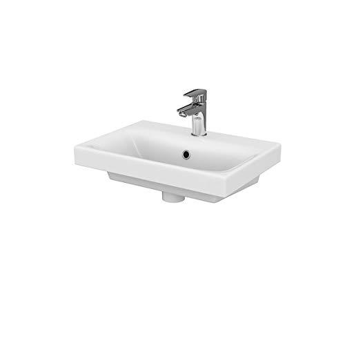 VBChome Kollektion Moduo slim 50 50 cm x 35 cm x 5,8 cm Waschtisch für Unterschrank Einbau Waschbecken mit Überlauf Weiß Keramik Waschtisch Handwaschbecken Einbau -Waschschale FÜR BADEZIMMER -
