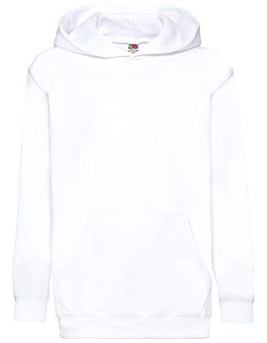 Fruit of the Loom Kids' Hooded Sweat, White, 152