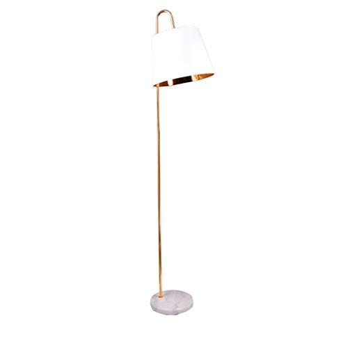 WangYi lámpara de Piso- Lámpara de pie Dormitorio Sala de Estar Lámpara Vertical de mármol Creativa IKEA, Interruptor de pie, Blanco, Negro (Color : White, Size : 183x27.5cm)