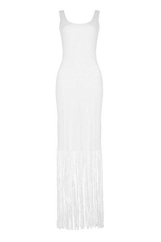 Damen Weiß Ava Ärmelloses Maxikleid Mit Fransen Weiß
