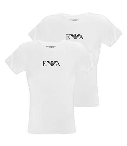 Emporio Armani 2 Pack Rundhals T Shirts mit EA Logo CC715 111267 S weiß 04710 -
