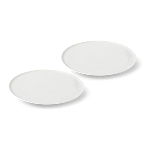 vivo by Villeroy & Boch Group New Fresh Collection Pizzateller, 2er-Set, 33 x 33 x 2,8 cm, Premium Porzellan, Weiß