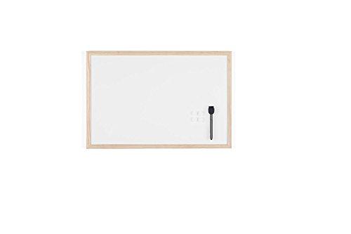 Bi-office lavagna magnetica bianca budget con cornice in legno, superficie speciale cancellabile a secco, 600 x 400 mm