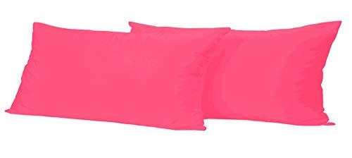 Leonado Vicenti 2 Stück Kissenbezug Baumwolle Renforce 40x80 cm Pink Kissenhülle mit Reißverschluss