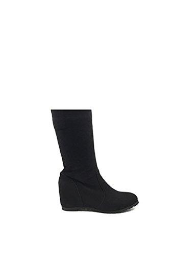 CHIC NANA . Chaussure femme cuissarde compensée en effet daim, dotée d'un bout rond. Noir