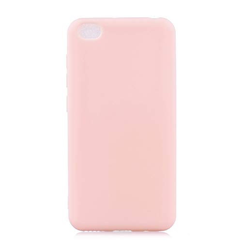 cuzz Funda para Xiaomi Redmi GO+{Protector de Pantalla de Vidrio Templado} Carcasa Silicona Suave Gel Rasguño y Resistente Teléfono Móvil Cover-Rosa Claro