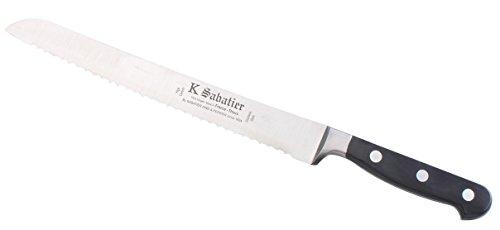 K Sabatier - Pain 23 Cm K Sabatier - Gamme Bellevue - Acier Inoxydable - Manche Noir - 100% Forge - Entièrement Fabrique En France