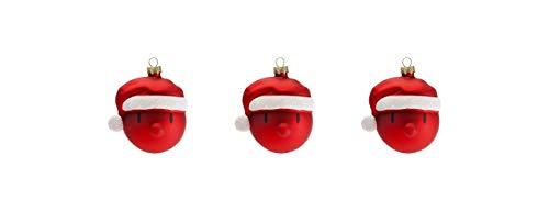 Hoptimist, 90011-40, Weihnachtskugeln Mini Santa, 3 Stk, 4 cm (Rot)