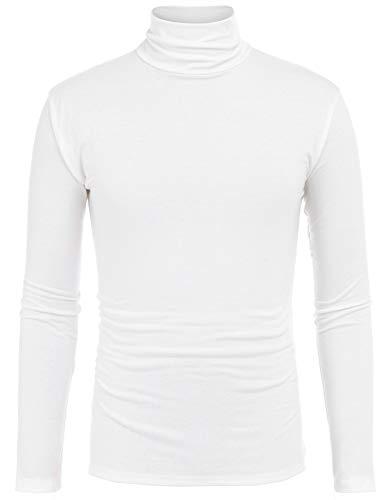 Big Tall Jeans Jacken (FISOUL Herren Thermo-T-Shirt, langärmelig, Rollkragen, Slim Fit - Weiß - XX-Large)