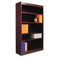 Square Corner Wood Veneer Bookcase, 5-Shelf, 36w x 11-3/4d x 60h, Mahogany by Alera