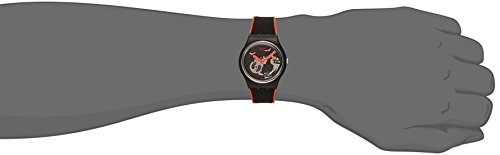 Swatch Unisex 39mm Black Silicone Band Plastic Case Swiss Quartz Analog Watch GB290 -