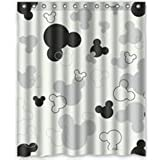 """LEGENDT POPcases Supplier Flawless Creative gorgeous retro Mickey Mouse Black and White Shower Curtain Shower 100% WaterProof Polyester Fabric 60"""" x 72"""" Inches Standard"""