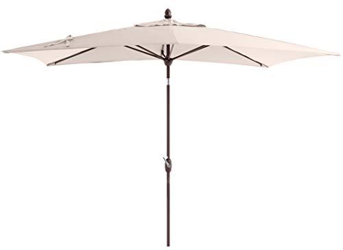 SORARA Parasol Jardin | Beige/Sable | 300 x 200 cm (3 x 2 m) | Rectangulaire Porto (Mât Bronzé) | Commande à Manivelle | INCL. Housse (Excl. Base)