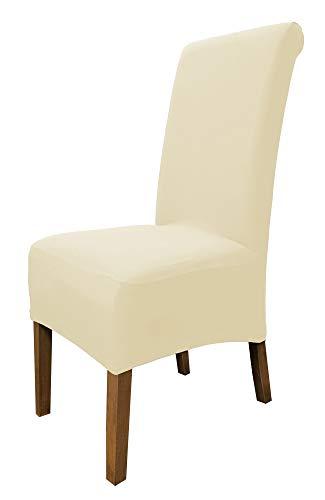 SCHEFFLER-Home Emma Set di 2 Coprisedie della Sedia, Elasticizzato Coperturie sedie, Protezione in Stretch con Banda Elastica, Altezza del Sedile 20-29cm - Panna