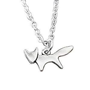 Silver Spirit Fox Halskette Silber Fuchs Halskette abstrakte Anime Fantasy Kawaii Silber Animal Charm Halskette (Halloween Charms Kawaii)