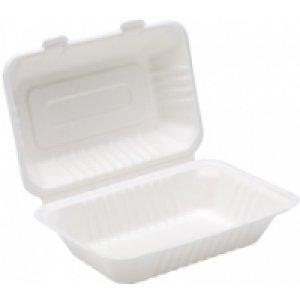Thali Outlet - Contenitore alimentare, biodegradabile, resistente, di carta, usa e getta, ideale per take away, bar, eventi, lavoro, feste, confezione da 125, 24,38 cm, colore: bianco