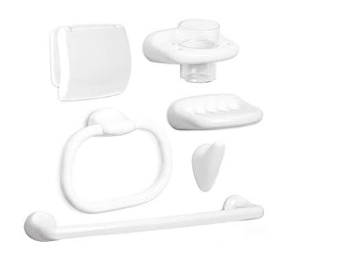 TATAY 6632101 - Olympia Set de baño completo: Toallero, Portarrollos, Aro toallero, Colgador, Jabonera y Portacepillos de dientes, Plástico Polipropileno, Blanco, 62x13x30 cm