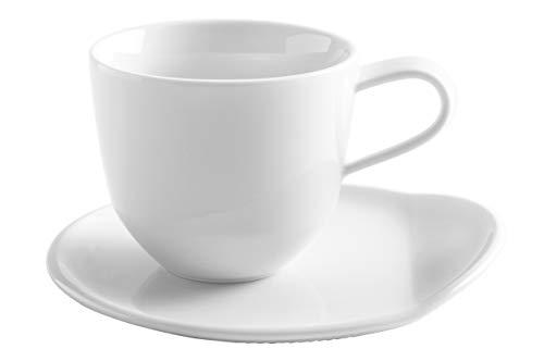 Kahla 02B110A90002C O - The Better Place Cappuccino Tassen Set 4-teilig für 2 Personen 250 ml Kaffeetassen Porzellan weiß modern Teetassen dickwandig