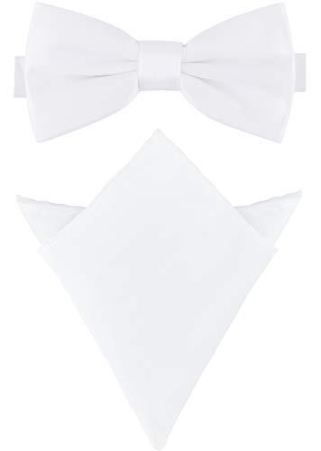 Ladeheid Herren Schmale Fliege & Einstecktuch Set M/P (12cm x 6cm, 22cm x 22cm, Weiß) Weiß Bow Tie Set