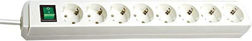 Brennenstuhl Eco-Line 8-fach Steckdosenleiste (Steckerleiste mit Kindersicherung, Schalter und 3 m Kabel) weiß