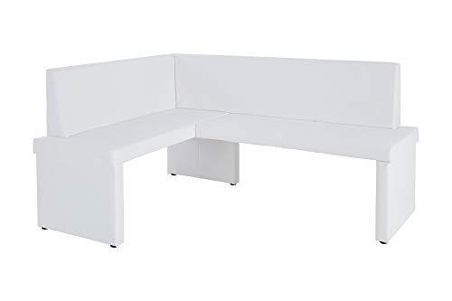Homexperts Eckbank rechts MULAN / Moderne Sitzbank mit Lehne in Weiß / Küchenbank gepolstert / Vintage Lederimitat / Eckbankgruppe langer Schenkel rechts weiß / 125x165cm / 82x54cm (HxT)