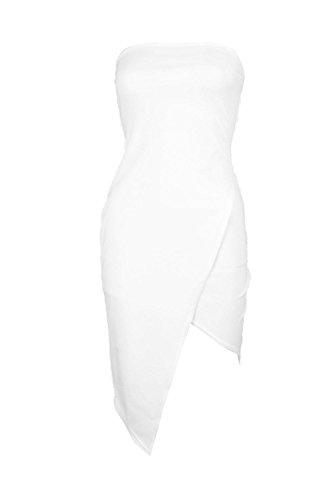 blanc Femmes Petite Mona Robe Midi Bandeau Asymétrique Blanc