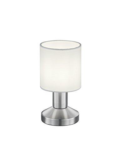 Trio Leuchten Tischleuchte, Nickel, E14, Weiß, 9.5 x 9.5 x 18 cm