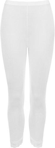 WearAll - Femme Bordure en dentelle 3/4 Pantalon extensible Plaine Leggings - Pantalons - Femmes - Tailles 42-58 Blanc