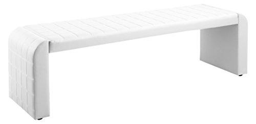 CAVADORE Vorbank COBRA / Küchenbank 140 cm breit in weiß / Moderne, gepolsterte Sitzbank / Kunstleder-Bank schlamm weiß / Bank ohne Lehne / Sitzmaß : 140 cm / 162 x 50 x 48,5 cm (B x T x H)