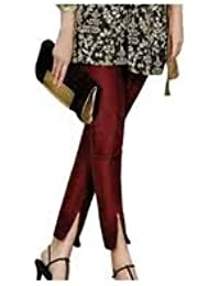 oneOeightdesigns Women's Silk Tulip Trouser with cotton Lining (Pearl and Stone Beads) Maroon-36