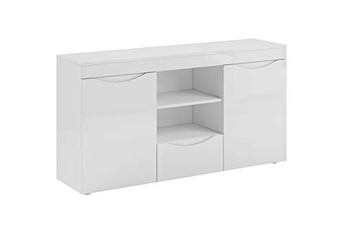 muebles bonitos Sideboard Weiss Modell Nalak. Komplettes Möbel in Hochglanz lackiert 140cm