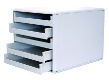 Schubladenboxen - mit 5 offenen Schubladen, hellgrau/hellgrau Gehäuse mit Schubladen für Formate bis A4. Schubladen mit Auslaufsperre. Aus Polystyrol (PS).