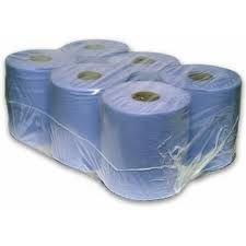36 ROLLS BLUE PAPER WIPE CENTRE FEED TOWEL 2 PLY 150M 2 PLY EMBOSSED - GIVES BETTER ABSORBENCY