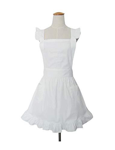 Süße, weiße Retro-Schürze für Frauen, Kochen, Reinigung, Dienstmädchenkostüm mit Taschen -