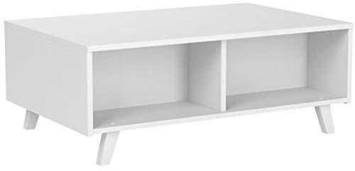 COMIFORT Table Basse avec Plateau Relevable - Table de Salon Fonctionelle avec Rangement et Compartiments Résistants, Moderne, Pieds en Hêtre 100% Naturels, Blanc