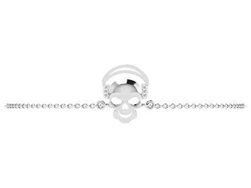 Or Blanc 9 ct Bracelet Diamant en forme de crâne, 0.01 Ct Diamant, GH-SI, 2.12 grammes.