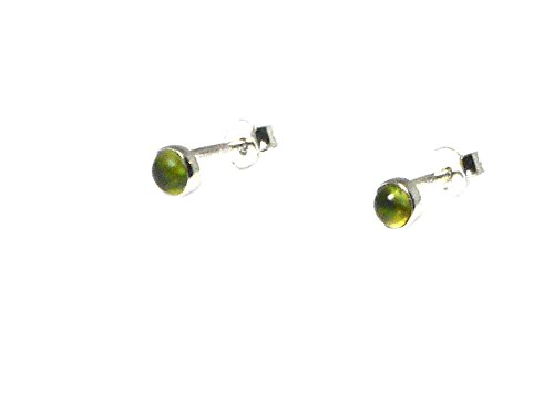 Rund Peridot Sterling Silber 925 Ohrringe/Ohrstecker - 4 mm (pdst2212162)