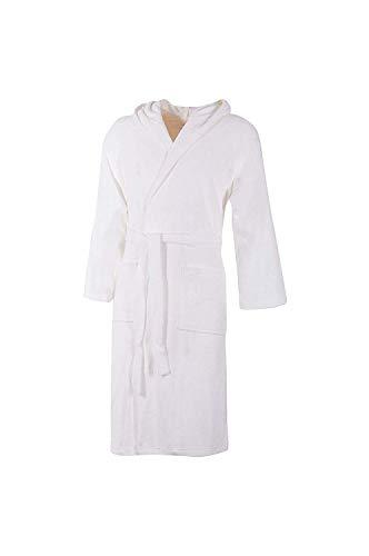 Accappatoio bianco con cappuccio in spugna 100% cotone tinta unita uomo donna unisex (m)