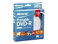 memorex-printable-10-x-dvd-r-47-go-16x-surface-imprimable-par-jet-dencre-spindle-support-de-stockage
