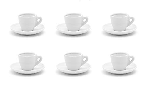 Dickwandige Espressotassen weiß aus Porzellan, 6 Stück, B-Ware