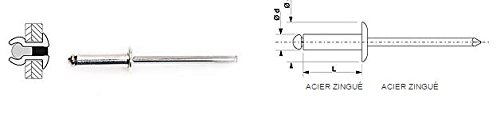 100 Rivets aveugles standards Acier/Acier Tête Ronde Standard 4.8X16 DEGOMETAL 104 148 161