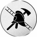Pokal / Medaille Emblem, Motiv Feuerwehr, Durchmesser 50 mm, silber (Sieger Auszeichnung Medaillen)