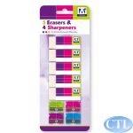 Schul-Schreibset Mit 5 Radierern & 4 Bleistiftspitzern