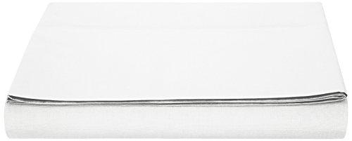 AmazonBasics Bettlaken, Poly-Baumwolle Fadenzahl 200, 180 x 290 + 10 cm - Weiß